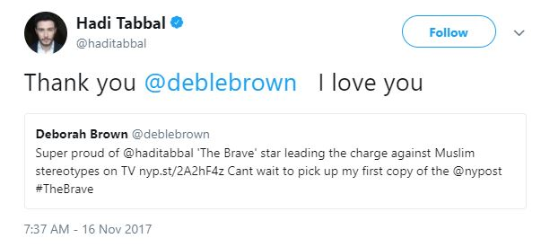 Hadi Tabbal saying I love You to Deborah Brown
