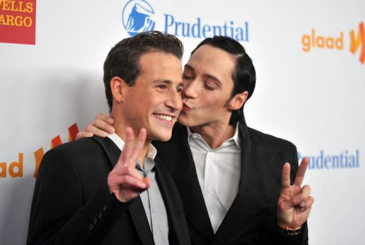 Johnny Weir with his ex-partner Victor Vonorov