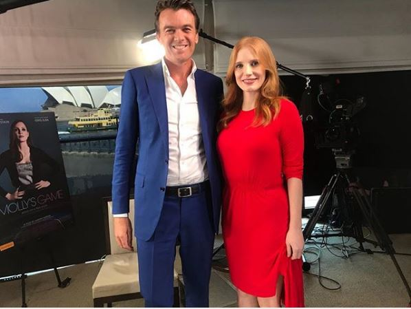 Michael Rowland with Jessica Chastain a day before interview on News Breakfast