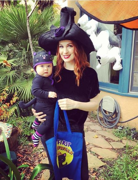 Felicia Day with her daughter on Halloween