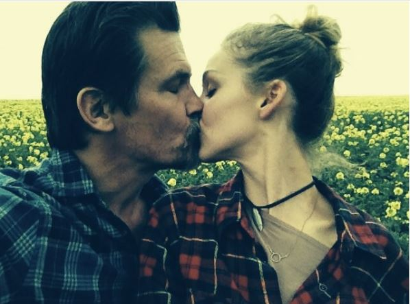 Josh Brolin kissing his wife Kathryn Boyd on Valentines Day
