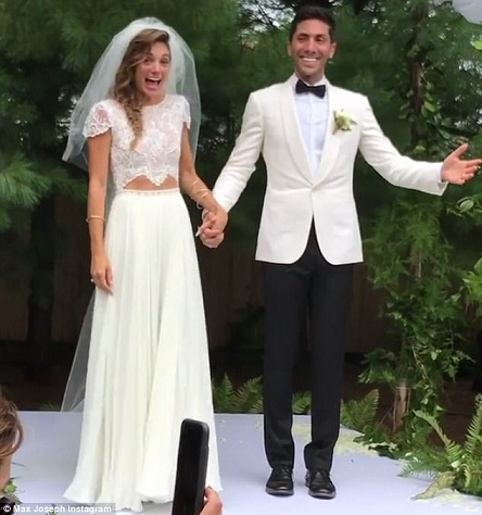 Nev Schulman with his wife Laura Perlongo on wedding day