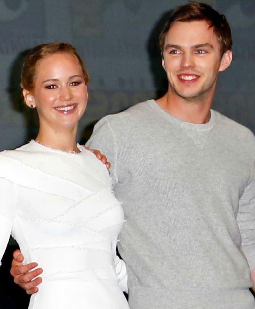 Nicholas Hoult with Jennifer Lawrence