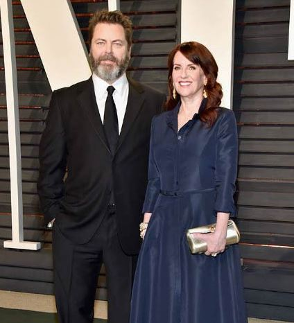 Nick Offerman with his wife, Megan Mullally
