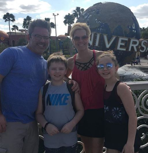 Tracy with husband and Children at Universal