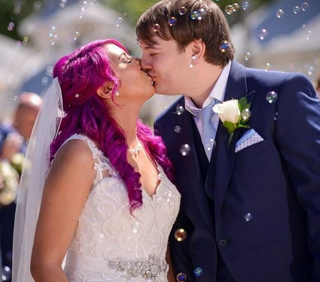 Yammy with her husband Kyle on wedding