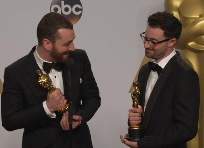 Calum with Sam Smith in ABC Award Function