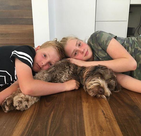 Georgie children and pet dog wilbur