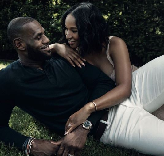 LeBron with his wife, Savannah Brinson