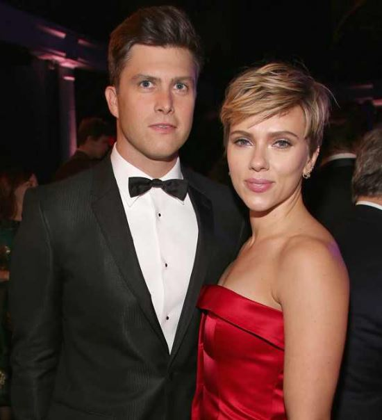 Colin Jost with Scarlett Johansson