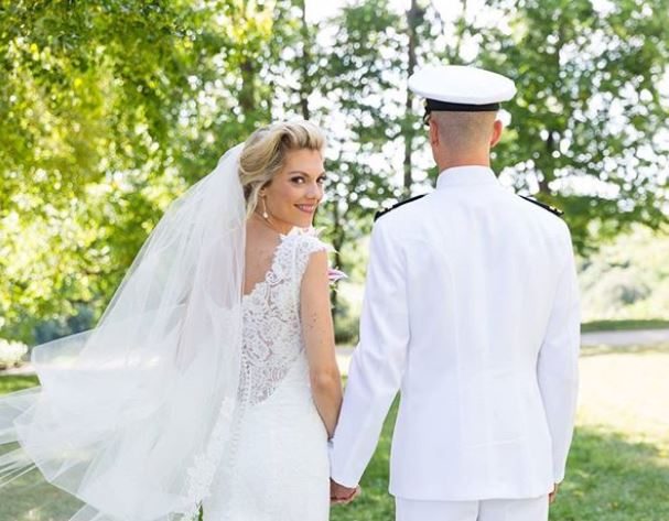 Liz Wheeler with her husband on the wedding day