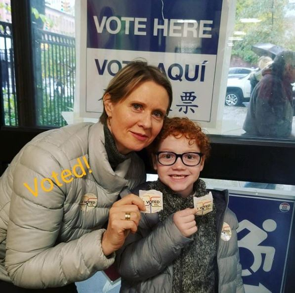 Cynthia Nixon with son , Max