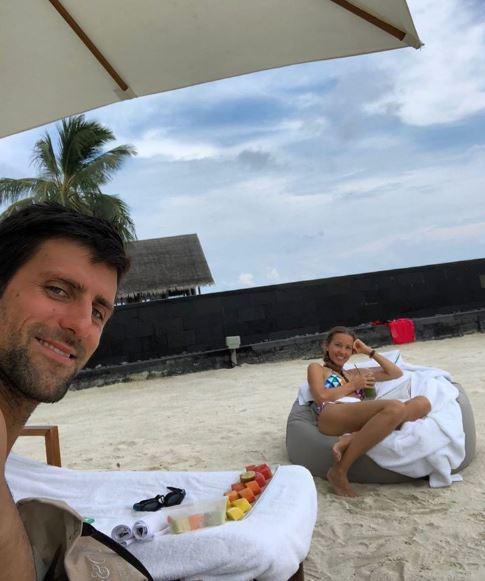 Novak Djokovic with his wife