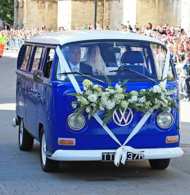 Caspar wife Ellie in Volkswagen Campervan