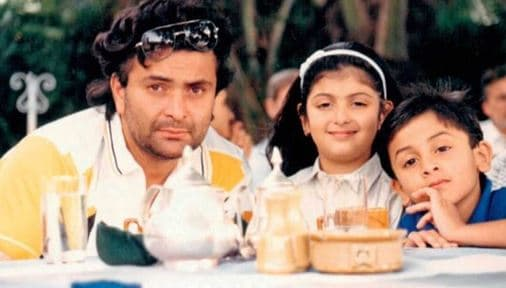 Riddhima with her father Rishi Kapoor and brother