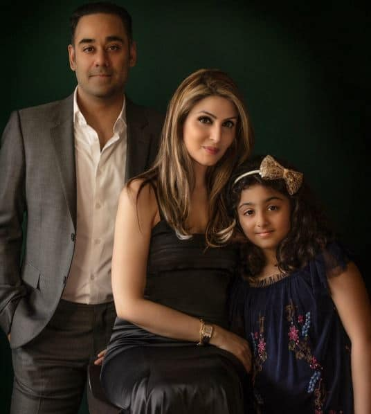 Riddhima with her husband, Bharat Sahni, and daughter Samara